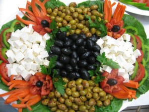 Cheese and olive platter